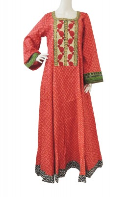Red Rose Lace Cotton Jalabiya